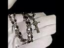 Золотой крестик с бриллиантами на цепочке плетения Капля