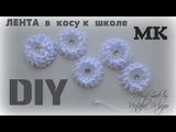 Лента в косу на 1 сентября Канзаши Мастер класс Наталья Мазер