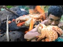 Amazing primitive technology ! Cooking Big octopus recipe  on the rocks  -  Eating delicious Best
