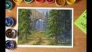 Пишем лесной пейзаж гуашью.draw forest landscape gouache.