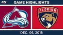 NHL Highlights Avalanche vs. Panthers - Dec 6, 2018