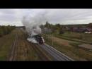 Прибытие паровоза на станцию Куженкино. Первый рейс пассажирского поезда Бологое - Осташков.