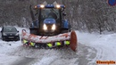 4K| New Holland T7070 Plowing Snow (Feb 2018)