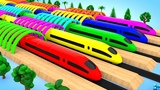 Colors for Children to Learn with Bullet Trains Coloring A Lot of ColorBalls 3D Vehicle for Kids Edu