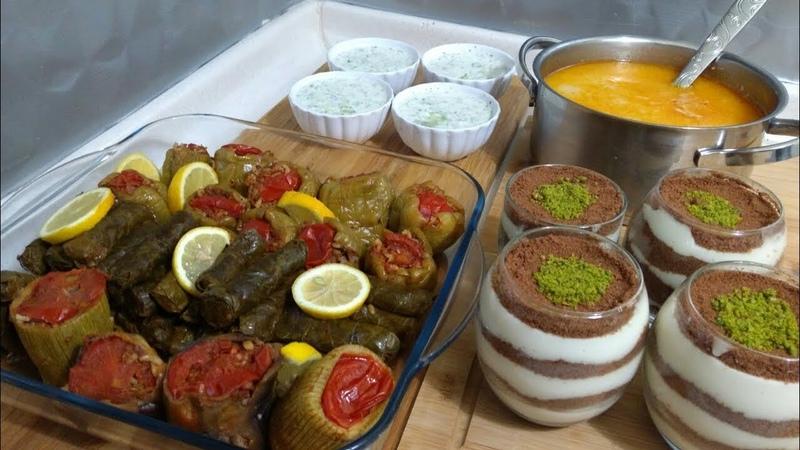 Kısa Sürede Akşam yemeği Karışık Dolma Menüsü / Çorba / Ana Yemek / Cacık / Tatlı / SEVAL MUTFAKTA /