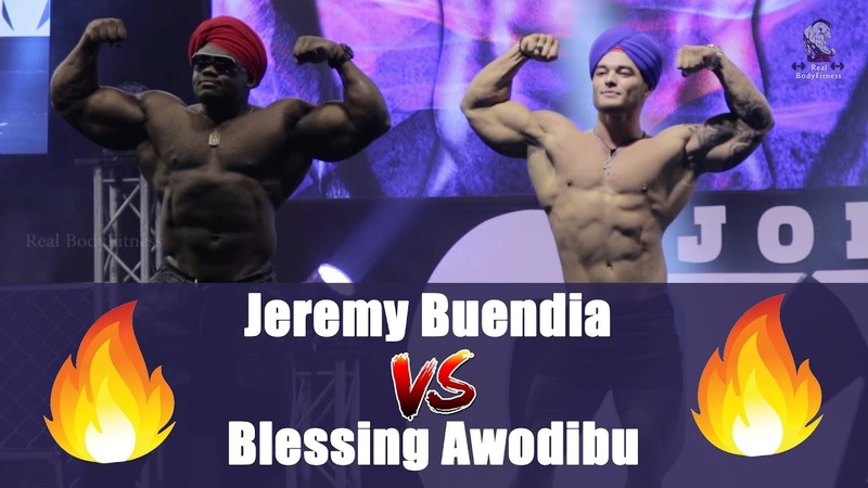 Jeremy Buendia VS Blessing Awodibu Stage Burnimg Guest Posing On The Stahe Of Olympia Amateur 2018