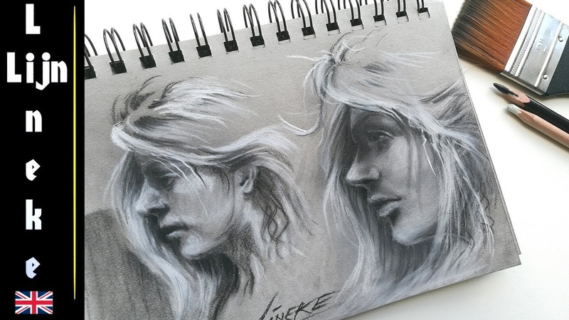 Drawing face from the side charcoal and pastel pencil for beginners