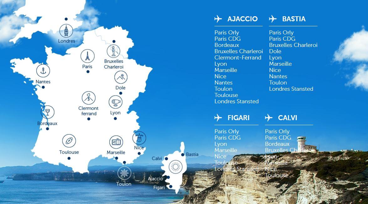 Направления полетов Air Corsica