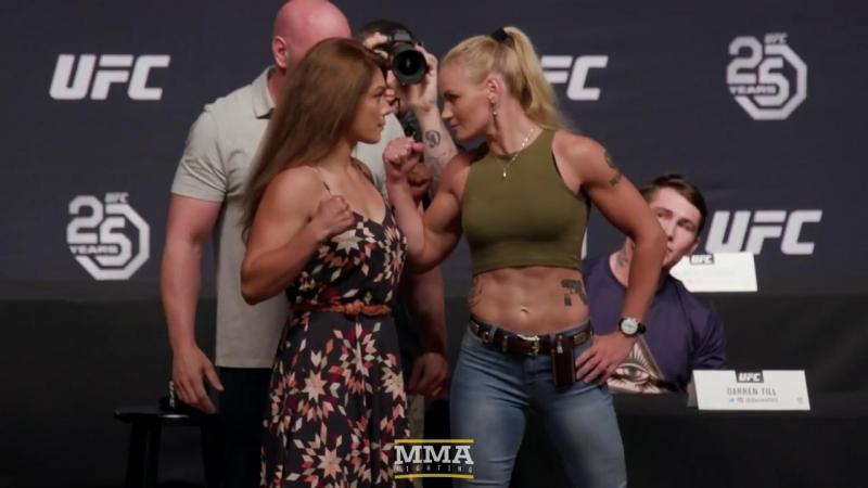 Nicco Montano vs Valentina Shevchenko. UFC 25th Anniversary Press Conference Staredown 1