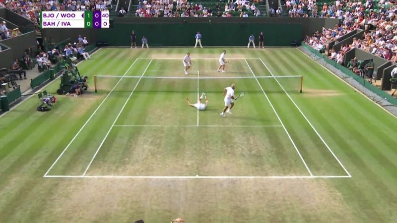 Mansour Bahrami plays funny phantom point in mens doubles