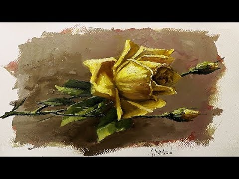 Oil Painting Yellow Rose By Yasser Fayad