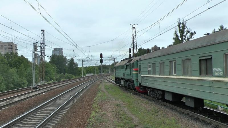 Тепловоз М62-1493 с грузовым и электропоезд ЭТ2м-044