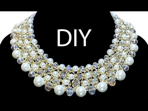 DIY chain necklace with pearl beads Колье из бусин и цепочки своими руками