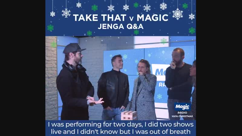 @takethat came in... so we played a game of Jenga QA with them of course! Thanks for stopping by @GaryBarlow, @OfficialMarkOn an