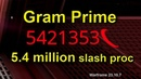 Warframe: Gram Prime build with 5.4 million damage slash proc (standalone, no buffs, no abilities)