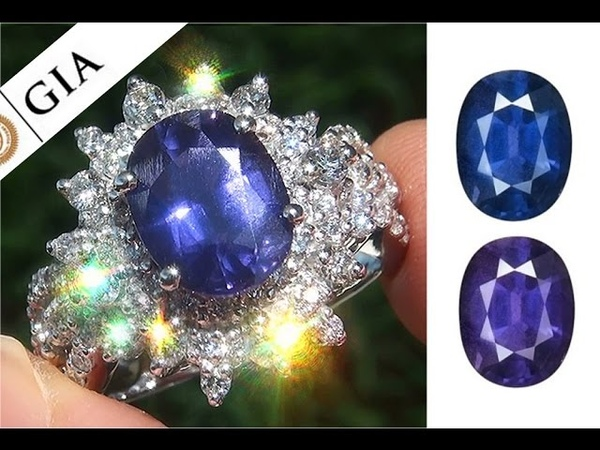 GIA Certified UNHEATED Natural VS1 Color Change Sapphire and Diamond PLATINUM Ring - C862