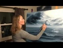 Sped Up Painting of a Stormy Ocean Scene in oil