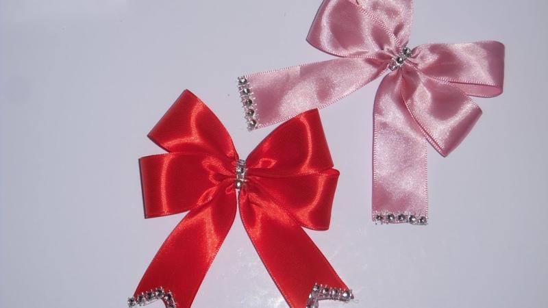 ✿DIY satin ribbon 06 ✿تزيين جهاز العروسة : بابيون مزدوج بشر1