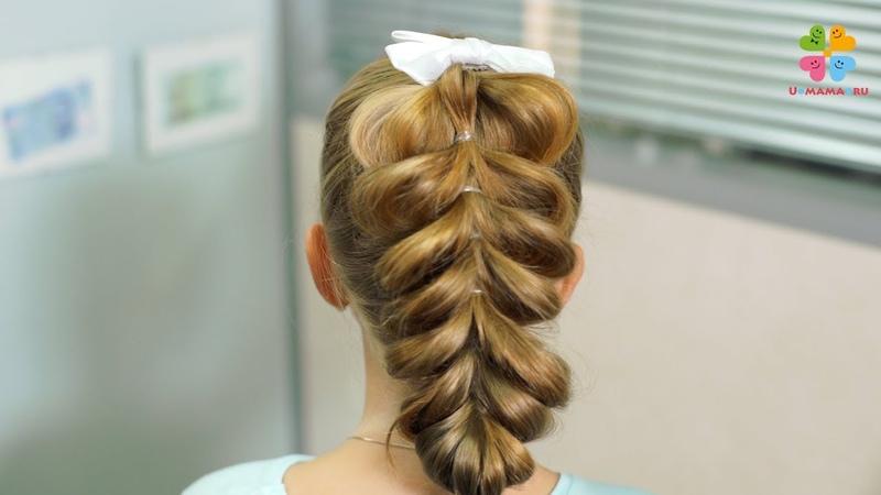 Прическа в школу для девочки на каждый день. Французская коса с резиночками