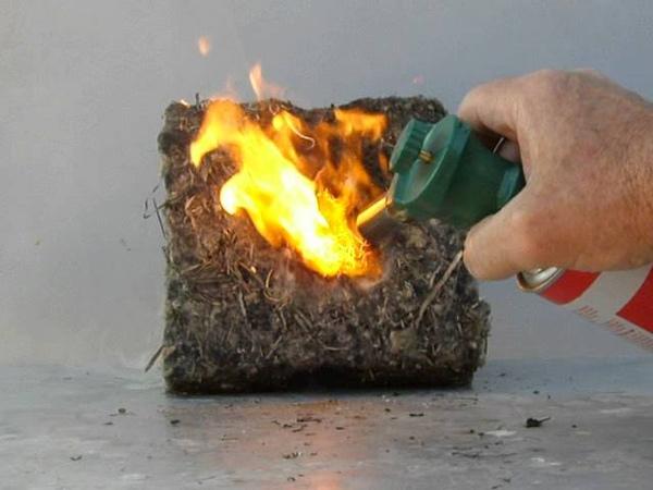FLAXAN не возгорается даже без пропитки!