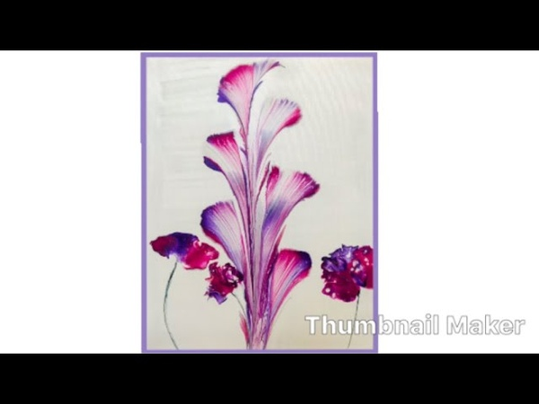 (117) How to String Pull and Blow Acrylic Fluid Paint, Flowers
