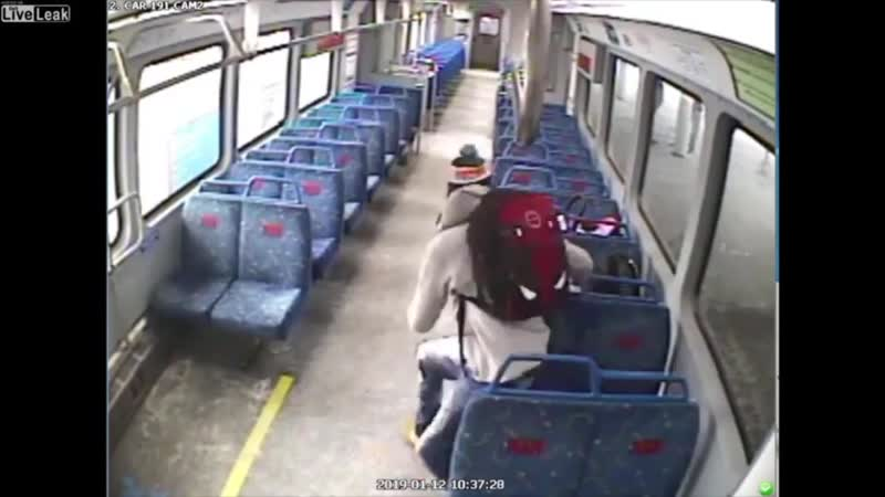 Father leaves his child in the train and steps off for a quick smoke