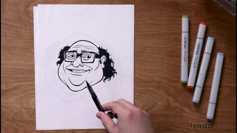 Lynda - 5-Day Drawing Challenge - Drawing Inspiration - 012 Day 5 solution - Caricature drawing