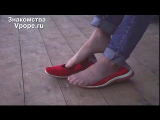 Shoeplay in ballet flats and candid nylon feet (Ножки, Фетиш, Фут, Foot, Fetish, Чулки, Legs, Секси)
