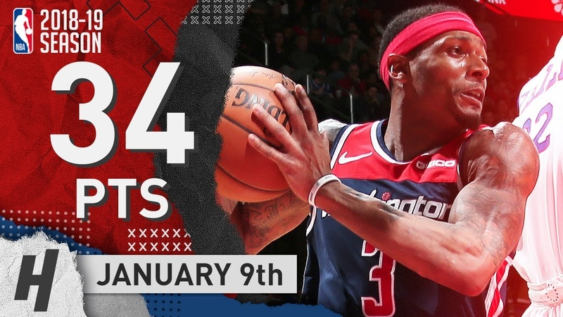 Bradley Beal Full Highlights Wizards vs 76ers 2019.01.09 - 34 Points, SICK!