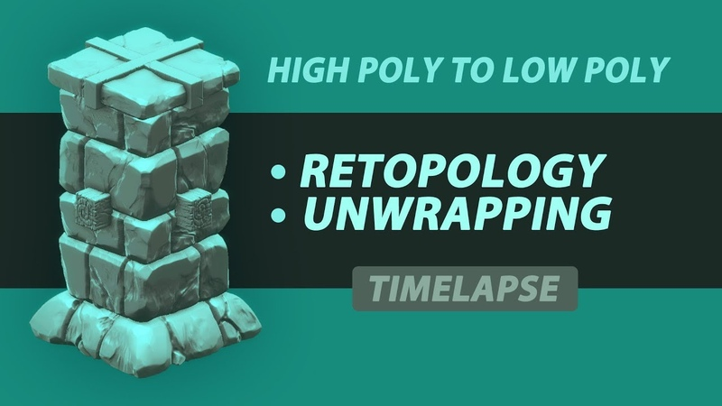 Timelapse Retopologizing and unwrapping low poly assets for a game High Poly to low poly