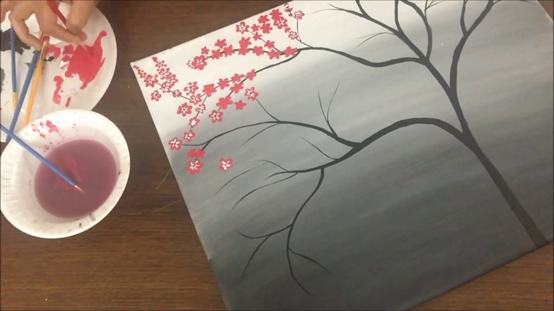 Cherry blossom acrylic painting| Acrylic painting for beginners | Easy canvas painting