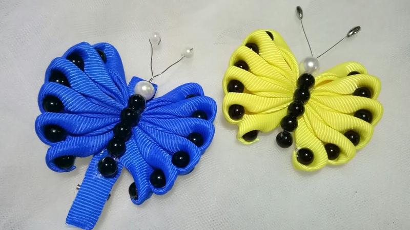 144) DIY - Tutorial    Cara Membuat Bros Kupu-Kupu Pita    Cute Ribbon Butterfly Brooch   Hairclip