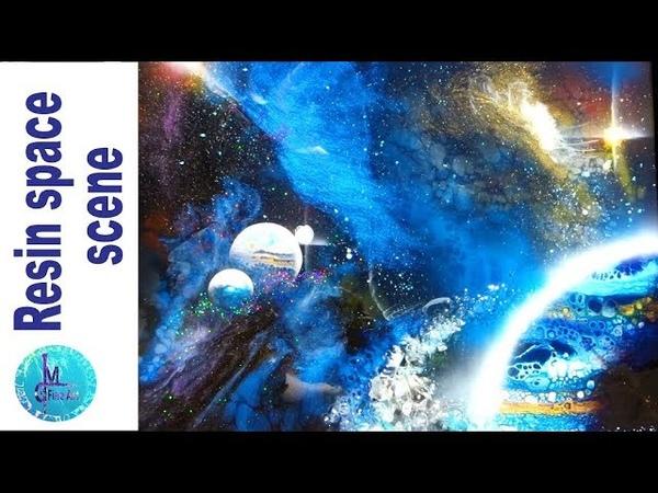 3D RESIN Space ART Acrylic pouring resin airbrush GALAXY and NEBULA Tutorial Star Trek fun