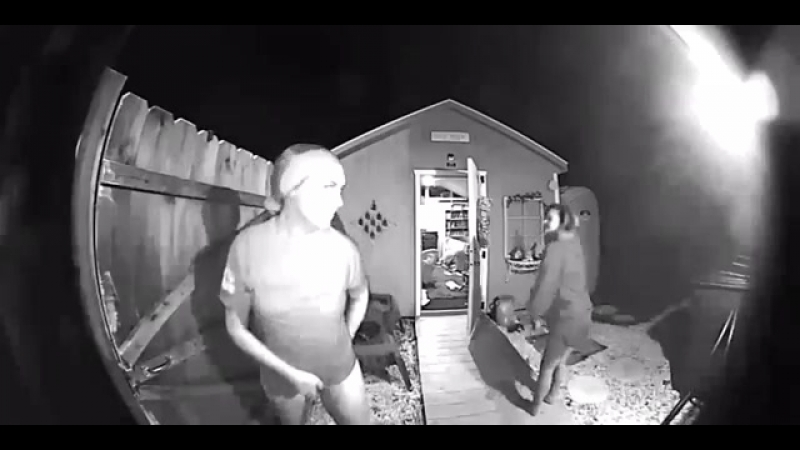Girl caught on camera peeing in her yard