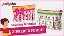Zippered pouch sewing video tutorial by pattydoo
