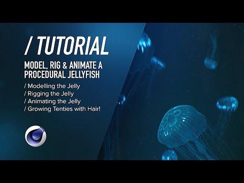 ( ) C4D TUTORIAL - Bioluminescent Jellyfish PT1 - Modelling, Rigging Animating
