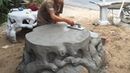 Construction Project Creative With Sand And Cement - Build A Concrete Table, Skill Working
