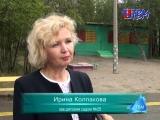 В детском саду номер 25 от калитки по всей территории и в помещении посетителей ведет ярко-желтая разметка.