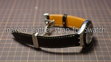 making a leather watch strap for Swatch スウォッチ腕時計用革ベルトを作ってみよう