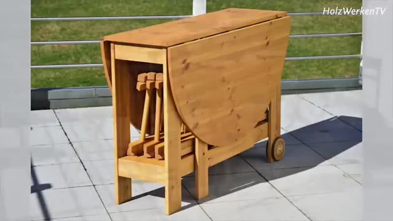 So bauen Sie einen Klapptisch mit vier Stühlen
