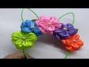 Diademas Orejas de Conejo decorada con flores de liston
