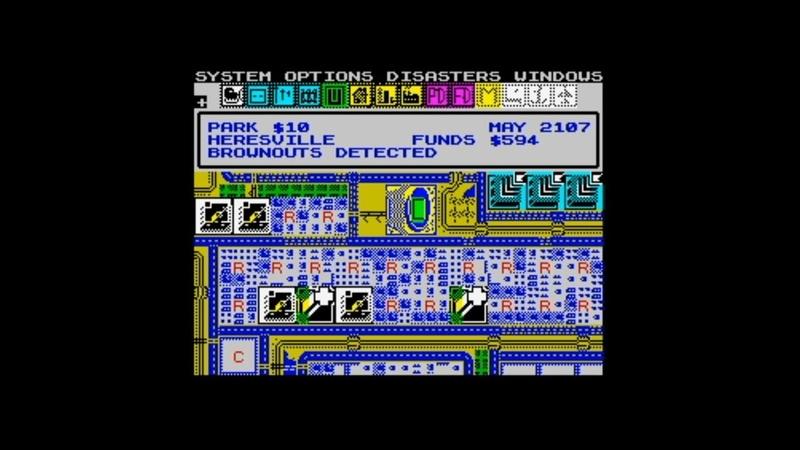 Sim City (1990) 128k AY music Kempston Mouse version Walkthrough Review, ZX Spectrum