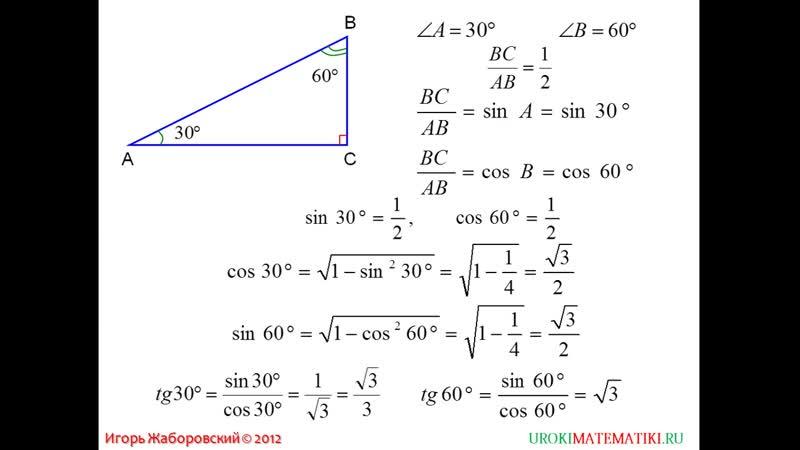 67 Значения синуса косинуса и тангенса для углов 30 45 и 60 градусов