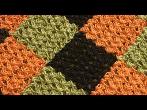 Вяжем плед из квадратов единым полотном