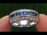 Estate Natural Blue Sapphire Diamond 18k Gold Cocktail Engagement Ring - C677
