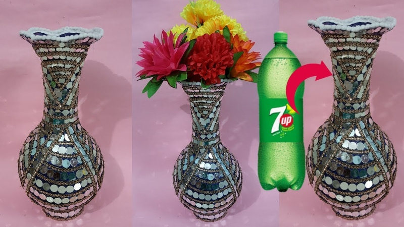 How to make flower vase with plastic bottle\ plastic bottle flower vase||dustu pakhe