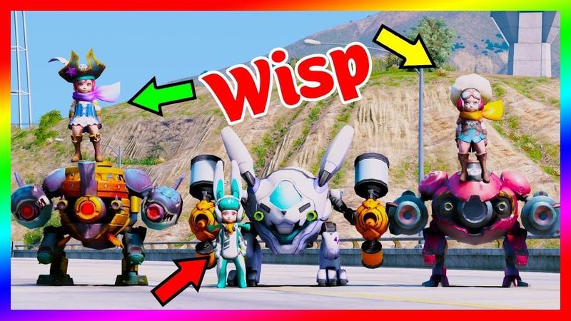 GTA 5 Mods - Wisp Thỏ Siêu Quậy Cùng Siêu Robot   Liên Quân Mobile   GTA5MODAZ