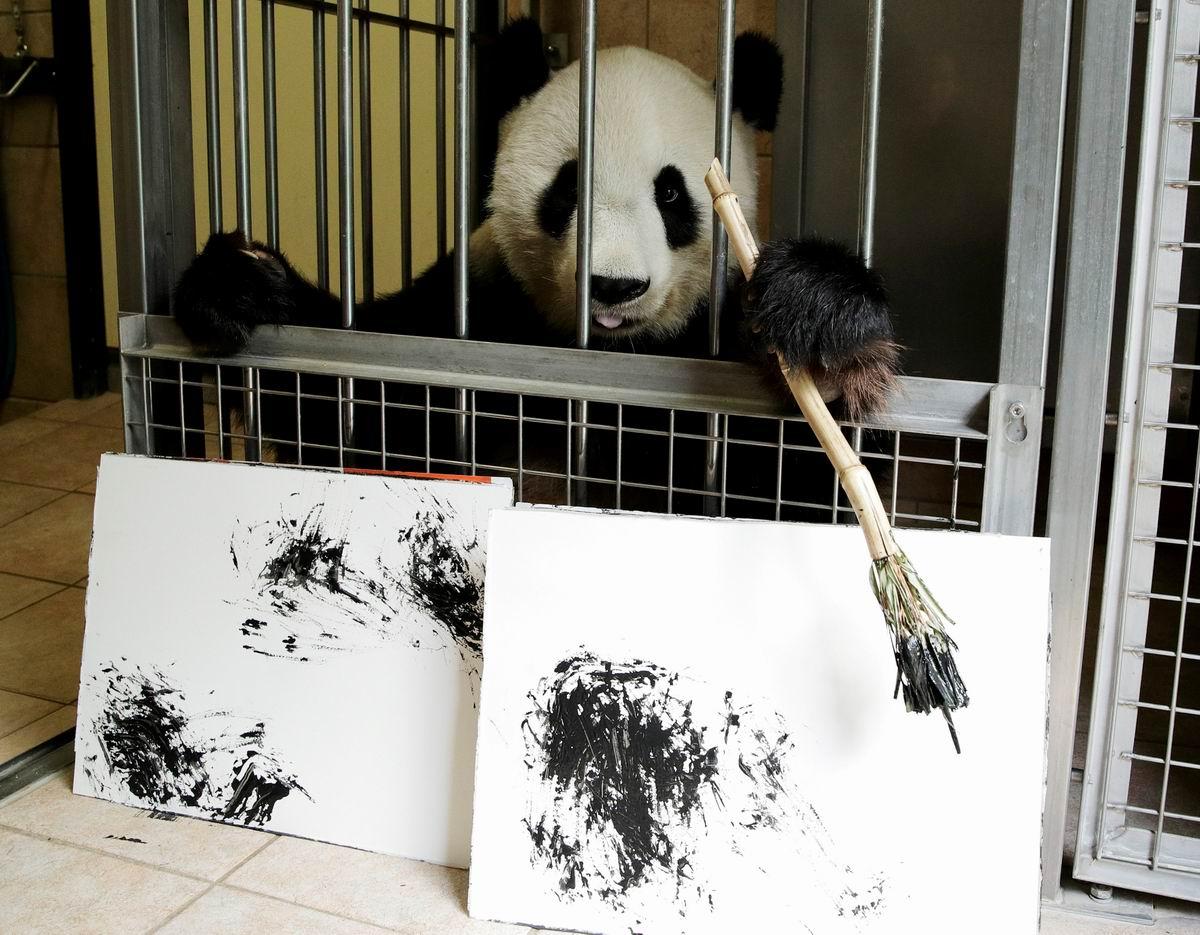 А мы тут живописью балуемся: Панда - художник