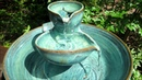 Ceramic Pet Drinking Fountain - Double Bowl Design - Turquoise Verte Lustre Glaze