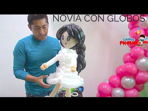 Como hacer novios parte 1 con globos how to make a balloon bride
